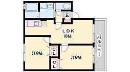 兵庫県高砂市阿弥陀町南池の賃貸アパートの間取り