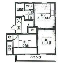 クレール田喜野井B[2階]の間取り