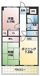 イーストヒル長田[5階]の間取り