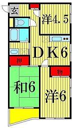 東京都足立区中央本町3丁目の賃貸マンションの間取り