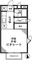 東京都世田谷区梅丘1丁目の賃貸アパートの間取り