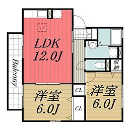千葉県富里市御料の賃貸アパートの間取り