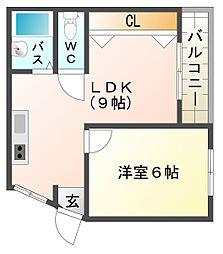 大阪府大阪市平野区平野宮町2丁目の賃貸マンションの間取り