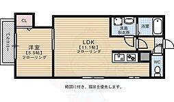 リテラ箱崎南1 2階1LDKの間取り