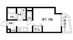 MARSH仁川 3階ワンルームの間取り