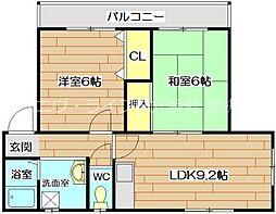 大阪府高槻市芝生町2丁目の賃貸マンションの間取り