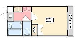 兵庫県姫路市上大野6丁目の賃貸アパートの間取り