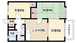 愛知県尾張旭市東本地ヶ原町4丁目の賃貸アパートの間取り