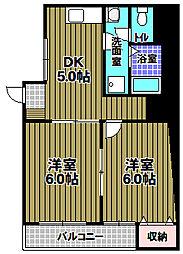 白鳳ビル北野田グリーンヒル 4階2DKの間取り