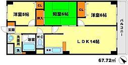 レスカーラ緑地公園 3階3LDKの間取り