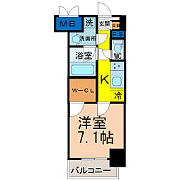 愛知県名古屋市北区黒川本通5丁目の賃貸マンションの間取り