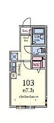 プランドールTC東長崎 1階ワンルームの間取り