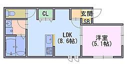 Y`sスクエア 1階1LDKの間取り