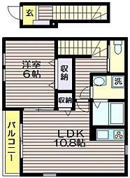 東京都世田谷区上祖師谷1の賃貸アパートの間取り