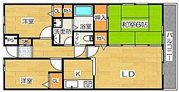 大阪府茨木市沢良宜浜3丁目の賃貸マンションの間取り