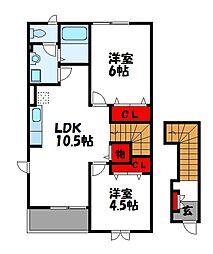 サンハイム柿の木 B棟[2階]の間取り
