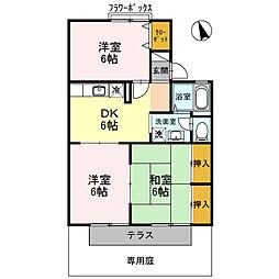 兵庫県姫路市飾磨区構2丁目の賃貸アパートの間取り