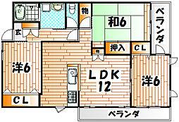 福岡県北九州市小倉南区守恒2丁目の賃貸マンションの間取り