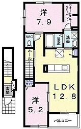 神奈川県川崎市麻生区千代ケ丘3丁目の賃貸アパートの間取り