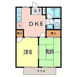 コーポ稲垣[102号室]の間取り