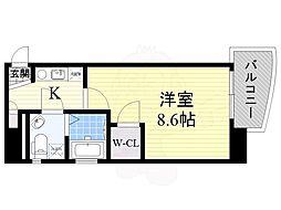 セレニテ日本橋EST 11階1Kの間取り