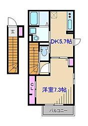 神奈川県横浜市都筑区南山田町の賃貸アパートの間取り