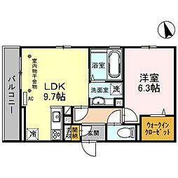 大阪府茨木市美沢町の賃貸アパートの間取り