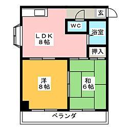 コーポ田園[2階]の間取り