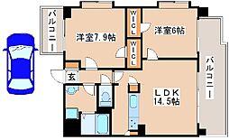 JR山陽本線 西明石駅 バス10分 王塚台5丁目下車 徒歩1分の賃貸マンション 5階2LDKの間取り