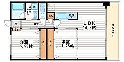 ブランメゾン船場[6階]の間取り