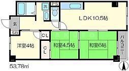 アップス嵯峨野[4階]の間取り