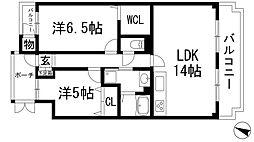 リストン宝塚[3階]の間取り