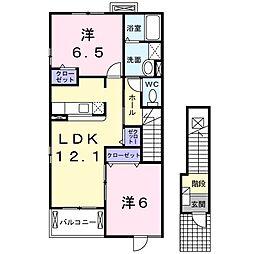 愛知県岡崎市赤渋町の賃貸アパートの間取り