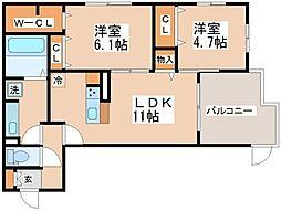 ラ コンフィアンス神戸[1階]の間取り