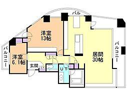 ラピス神宮外苑グランヒルタワー 4階2LDKの間取り