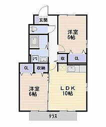神奈川県藤沢市柄沢の賃貸アパートの間取り