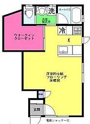 東京都新宿区余丁町の賃貸アパートの間取り
