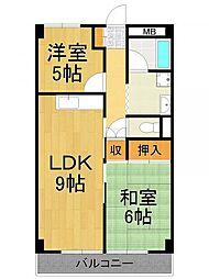 西興第2マンション[5階]の間取り