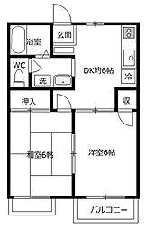 サンクリード高幡[2階]の間取り