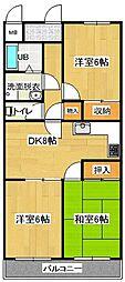 東京都羽村市小作台2丁目の賃貸マンションの間取り