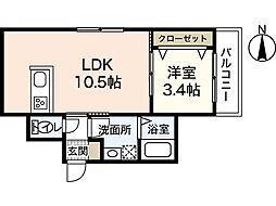 カーサ・バローレ江波二本松 2階1LDKの間取り