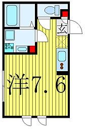 COCOCUBE滝野川II 5階ワンルームの間取り