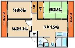 兵庫県明石市魚住町清水の賃貸マンションの間取り