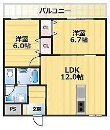 エタニティ高井田[6階]の間取り