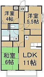 JR横須賀線 新川崎駅 徒歩22分の賃貸アパート 1階3LDKの間取り