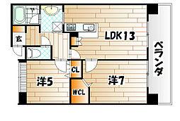 エイルマンション香春口ロゼア[2階]の間取り