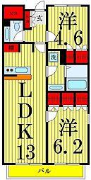 東京都足立区梅島3丁目の賃貸マンションの間取り