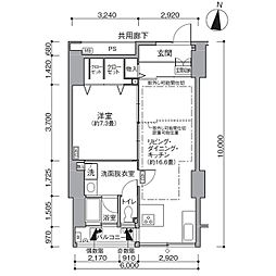 東京メトロ有楽町線 辰巳駅 徒歩9分の賃貸マンション 5階1LDKの間取り