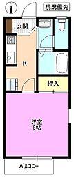 長野県松本市高宮中の賃貸アパートの間取り