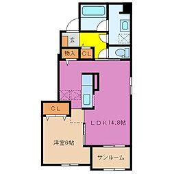 エトワール藤方 Ⅲ[2階]の間取り
